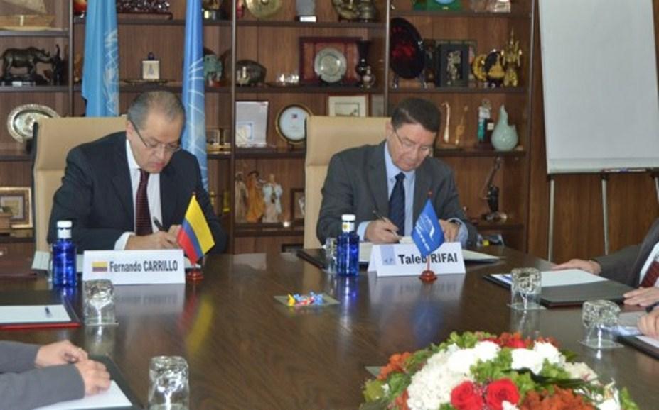 Embajador de Colombia en España Fernando Carrillo Flórez y el Secretario general de la OMT, Taleb Rifai